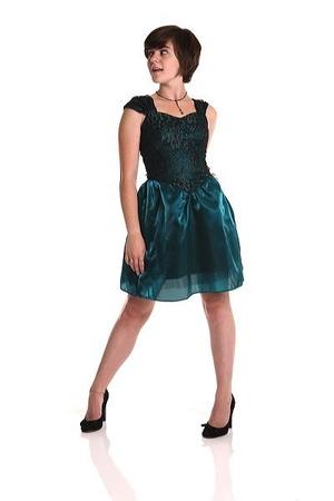 green Vintage second hand dress - black wild diva shoes