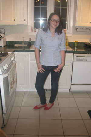 red Kimchi Blue flats - navy Forever 21 jeans - light blue Apt 9 shirt