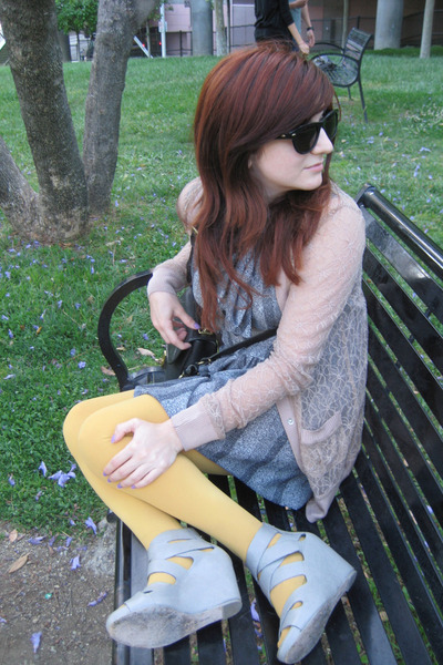 Rodarte for Target cardigan - vintage dress - asos tights - vintage Dooney & Bou