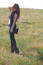 vintage vest - vintage top - BDG jeans - Camilla Skovgaard shoes - vintage Coach