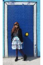 modcloth jacket - floral vintage skirt - modcloth top - modcloth wedges - Adina