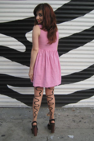 vintage dress - asos tights - Jeffrey Campbell shoes