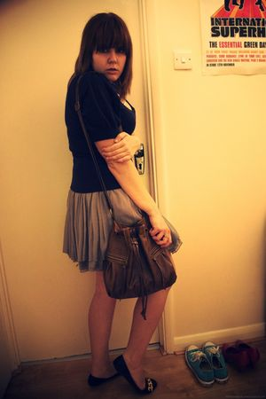 blue new look sweater - gray H&M skirt - brown new look purse - black Primark sh