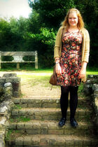 brown next dress - beige Primark cardigan - black Primark shoes - brown new look
