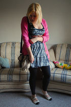 pink Dorothy Perkins cardigan - black AWear dress - black new look leggings - wh