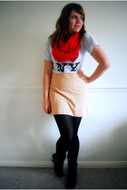 black Primark boots - red cupcake couture scarf - nude Topshop skirt - heather g