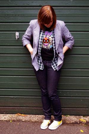 gray Primark blazer - green Topshop shirt - black t-shirt - blue H&M jeans - yel