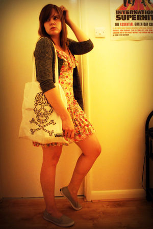 white Topshop via eBay dress - gray H&M cardigan - gray Keds via TK Maxx shoes -