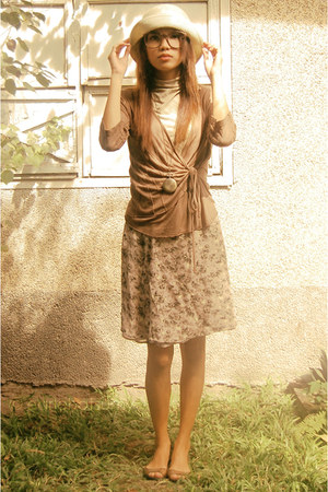 dark khaki floral print banana republic skirt - light brown brown Topshop blazer