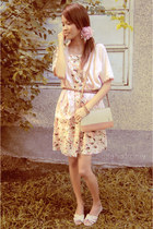 peach floral print Cinnamon Girl dress - beige YSL bag - light pink R&K blouse