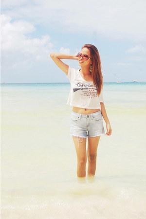 sky blue denim I Love H81 shorts - white hanging Luxuriant Prose top