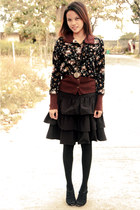 floral print jacket - knee high socks socks - layered skirt