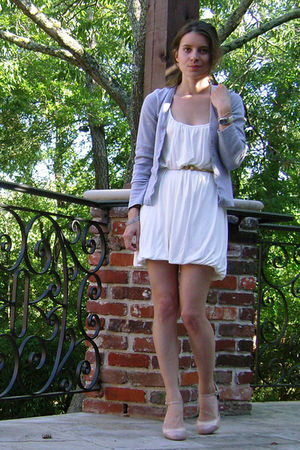 gray unknown cardigan - white Velvet dress - gold thrift belt