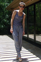 blue Proenza Schouler x Target top - silver pull&bear pants - beige seychelles s