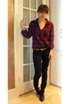 H&M shirt - unknown brand belt - BDG pants - payless boots