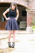 black tank Express top - black GoJane shoes - purple FCUK skirt