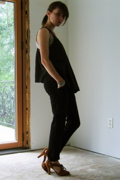 UO top - Go Intl pants - Dani Black shoes - Indian bangles accessories