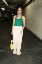yellow Nine West bag - white feather earrings - teal Mango top - cream pants