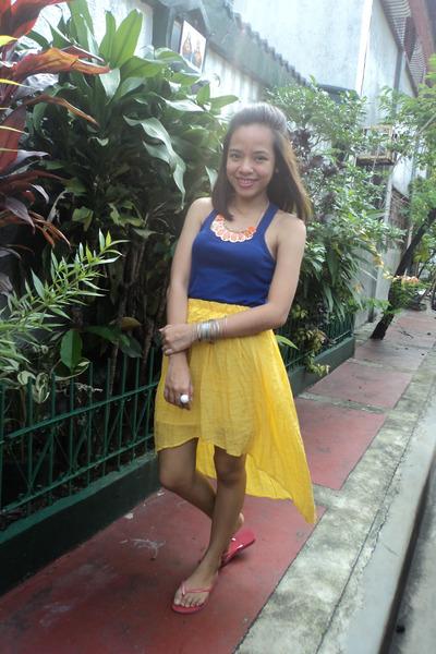 Mango top - DIY skirt - necklace