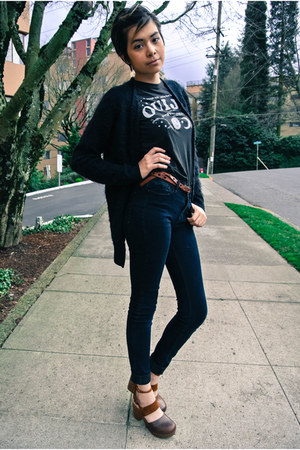 black bdg jeans Urban Outfitters jeans - black fuzzy cardigan Nordstrom cardigan