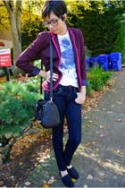 magenta Gap blazer - dark gray wool toms TOMS shoes