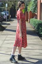 white Forever 21 socks - black doc martens boots - red thrifted vintage dress