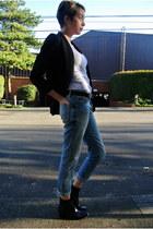 black Nordstrom shoes - light blue boyfriend jeans Gap jeans