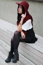 brick red floppy hat H&M hat - brick red scarf H&M scarf