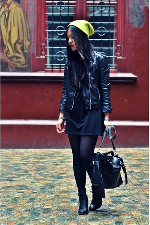 black H&M dress - yellow neon beanie H&M hat - black leather biker H&M jacket