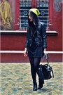 Black-h-m-dress-yellow-neon-beanie-h-m-hat-black-leather-biker-h-m-jacket