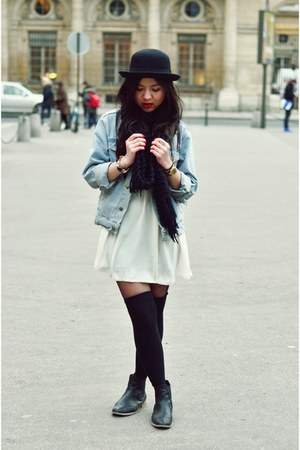 black wool H&M hat - periwinkle jeans denim American Apparel jacket