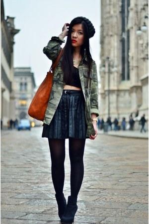 olive green camouflage Zara jacket - gray knitwear beanie H&M hat