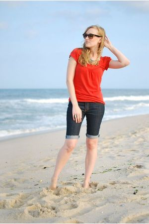 red Anthropologie shirt - blue Forever 21 jeans
