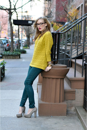 yellow banana republic sweater - teal J Brand pants - beige Payless heels
