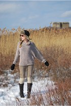 brown aerosoles boots - brown Eddie Bauer hat - tan American Apparel sweater - b