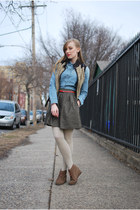 dark brown urban1972 vest - green BB Dakota skirt - sky blue madewell blouse