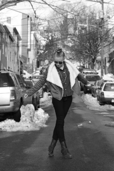 brown Steve Madden boots - navy James Jeans jeans - camel Lulus jacket
