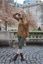 camel Target blouse - olive green BDG pants - beige madewell socks - brown Steve