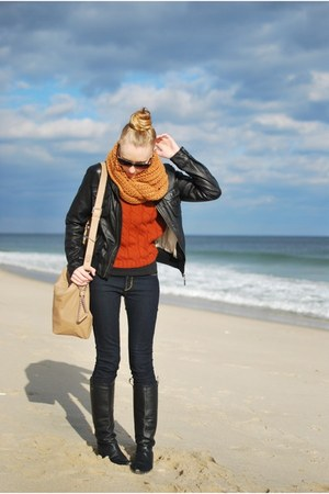 mustard Zara scarf - carrot orange Zara sweater - camel Zara purse - blue James 