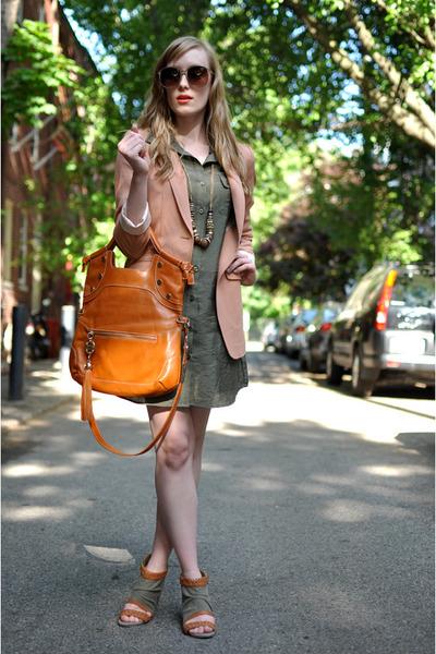 peach H&M blazer - olive green Jupe Boutique dress - tan Forever 21 sunglasses