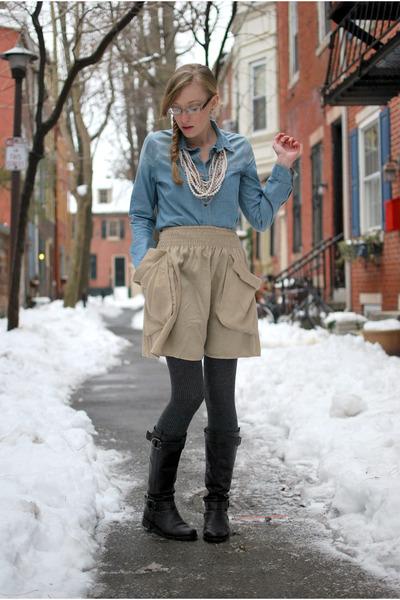 dark brown aerosoles boots - heather gray H&M tights - tan H&M skirt - light blu
