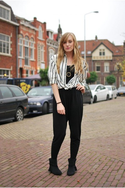 white H&M blouse - black Zara boots - black harem H&M pants