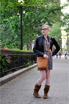 camel Zara boots - deep purple Forever 21 dress - black Urban 1972 jacket - tawn