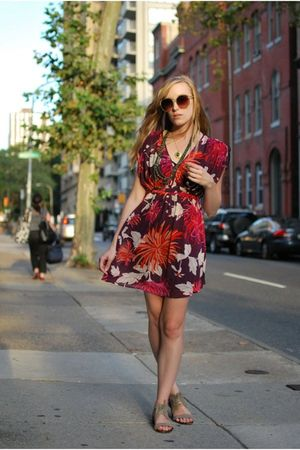 purple H&M dress - beige Zara shoes - beige Forever 21 sunglasses - green Anthro