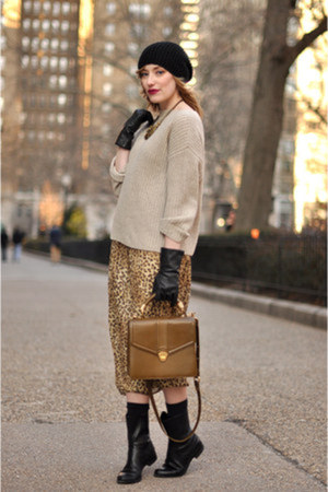 knit H&M hat - calvin klein boots - leopard D&Ray dress - vince sweater