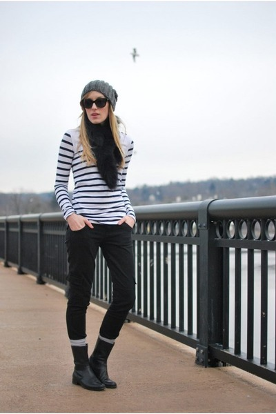 black Hudson jeans - heather gray Zara hat - white modcloth shirt - black Marc J