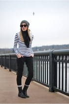 black Hudson jeans - heather gray Zara hat - white modcloth shirt - black Marc J