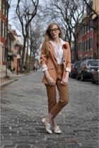 Wanted shoes - H&M blazer - H&M pants - H&M blouse - flower pin H&M accessories