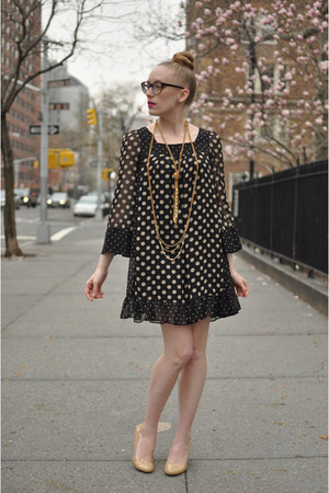 black Target dress - nude Steve Madden heels - crimson Warby Parker glasses