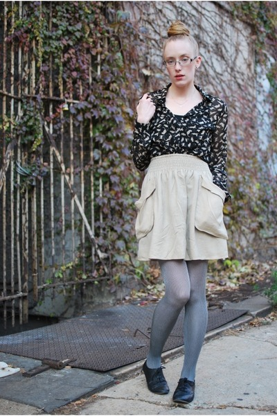 black Zara blouse - tan H&M skirt - charcoal gray Target tights - black BDG shoe
